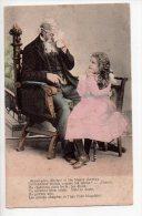 REF 132 : CPA Fantaisie Grand Père Et Enfant Jeune Fille - Groupes D'enfants & Familles