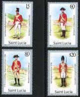 ST.LUCIA= BRITISH MILITARY UNIFORMS SC.#876-79 MNH CV.$15.00 COSTUMES (DEL25A4) - Militaria