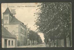 GERMANY  TREBBIN  POST  UND BAHNHOFSTRASSE   , OLD POSTCARD , O - Trebbin