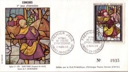 Enveloppe  1er  Jour   Vitrail   Eglise  Ste  FOY   CONCHES  1963 - Vetri & Vetrate