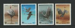 1988 WWF White Necked Crane Birds  Set  4 Complete MUH SG Catalogue  No´s 1829/1832 - Korea, South