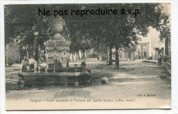 - Cotignac - Cours Gambette Et Fontaine Des Quatre Saisons En 1910, Animation, Arrosoir, écrite,TBE, Scans. - Cotignac