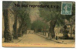 """- 25 - Cotignac - Cours """" Gambetta  Et Fontaine """" En 1907, Petite Animation, Glacée, Pas De Terrasse, écrite,TBE, Scans. - Cotignac"""