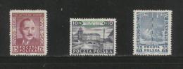 POLAND 1949 JULY MANIFESTO COMMUNISM SET OF 3  NHM Radio Mast Bierut President Warsaw Old Town Monuments - 1944-.... Republic