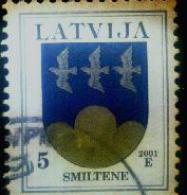 Latvia-BIRD- 5 Sant -LOGO -SMILTENE 2001 Year -stamp - O - Lettonie
