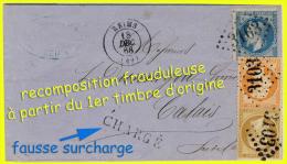 N°21 + 23 + 29 NAPOLÉON SECOND EMPIRE - OBLITÉRÉS B / TB - AFFRANCHISSEMENT COMPOSÉ SUR LETTRE DE REIMS - PORT CHARGÉ - - 1849-1876: Classic Period