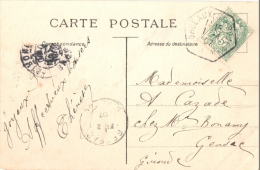 2398 BORDEAUX St PROJET A -A Gironde Carte Postale Blanc 5 C Vert Yv 111 Ob Recette Auxiliaire Urbaine D7 - Postmark Collection (Covers)