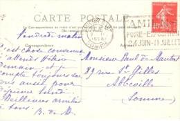 2404 AMIENS Somme Carte Postale 40 C Semeuse Yv 194 Ob Fliers Amien Foire Exposition Dreyfus AMI 307 - Poststempel (Briefe)