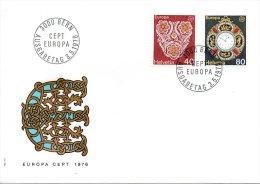 SUISSE. N°1003-4 Sur Enveloppe 1er Jour (FDC) De 1976. Europa. Artisanat/Broderie/Montre. - Europa-CEPT