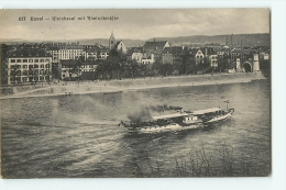 Basel : Kleinbasel Mit Rheindampfer. Bâle. 2 Scans. Edition Frey - BS Basle-Town