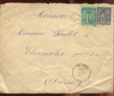 65023 - 2 TP, Tarif  15 C, Cad Type 18 BEAURIERE DROME Dec 1880 Cachet Boite Rurale  E TB - 1877-1920: Periodo Semi Moderno