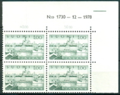 FINLAND 1963-74 1.00 Gebruikszegel Fluorescerend Blok Van Vier Met Velrand PF-MNH-NEUF - Finland