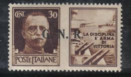 """SS740  - REPUBBLICA SOCIALE 1944 ,  30 Cent """" La Disciplina...""""  * Mint - Propaganda Di Guerra"""
