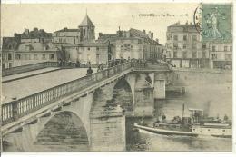 91, CORBEIL-ESSONNES, Le Pont Animé Et Remorqueur, Scan Recto-Verso - Corbeil Essonnes