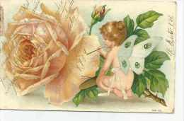 ROSA PINTADA POR UNA NIÑA DESNUDA CON ALAS DE MARIPOSA TBE DESTINATARIO EMILIA CASATI AÑO 1909  OHL - Engelen