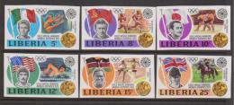 Liberia 1972 Munich Olympic Medal Winners Set 6 Imperforate MNH - Liberia