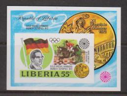 Liberia 1972 Munich Olympic Medal Winners Miniature Sheet Imperforate MNH - Liberia