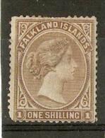 FALKLAND ISLANDS 1878 1s SG 4 NO WATERMARK  MOUNTED MINT Cat £85 - Falkland Islands