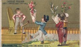 CHROMO  POULAIN Nous Vous Souhaitons Une Bonne Fête  TTBE (coupé Par Scan ) - Poulain