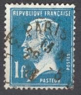 * 1923 / 26  N° 179 PASTEUR  OBLITÉRÉ DOS CHARNIÈRES TB - Plaatfouten En Curiosa