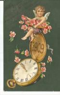 ANGEL SOBRE UN RELOJ  RODEAO DE FLORES 1909  TBE  DESTINATARIO  EMILIA CASATI   OHL - Engelen