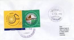 Lote SC326, Colombia, 2013, Sobre, Cover, Circular, Maloka, Aspirina, Maloka, Unusual, Circular Stamp - Sellos