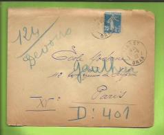 Lettre Affranchie Du Timbre N° 140 Oblitéré De TIARET ( ORAN) Le 09 09 22 Pour PARIS  Le 15 09 1922 - Algérie (1924-1962)