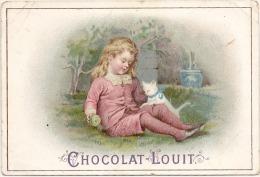- CHROMO - Chocolat  LOUIT -  Enfant Et Son Chat  TB (petit Pli ) - Cromos