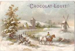 - CHROMO - Chocolat  LOUIT -  Paysage Moulin  à Vent Et Chevaux Trace Papier Dios - Chromos