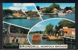 RB 937 - J. Salmon Multiview Postcard - Brundall Norfolk Broads - Boats & Church - England