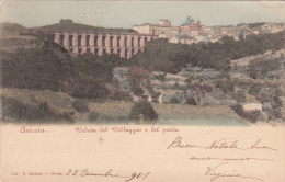 Ariccia, Roma. Veduta Del Villaggio E Del Ponte. 1901 Al Retro Targhetta Bandiera Vitt. Em. III - 1900-44 Vittorio Emanuele III