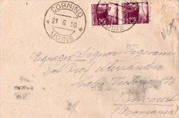 BUSTA  POSTALE  CON ANNULLO DI CORNINO-UDINE-21-6-1950- GEMELLI  LIRE 20-SPEDITO IN ROMANIA A BUCAREST - 6. 1946-.. Republik