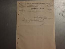 ANTOINE FAU À GÉRARDMER ( 88400) . LETTRE COMMERCIALE DATÉE 1911. - Old Professions
