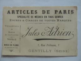 ARTICLES DE PARIS / ENCRE CIRAGE ETC... JULES ADRIEN 1 RUE DE FRILEUSE A GENTILLY - Visiting Cards