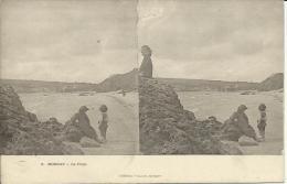 MORGAT - LA PLAGE. Nº3 - CARTE STEREOSCOPIQUE - PRECURSEUR - Morgat
