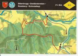 BIBERBRUGG - DREILÄNDERSTEIN - ROSSBERG - SCHINDELLEGI   SUIZA  OHL - Landkaarten