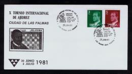 Spain España 1981 Cover LAS PALMAS GRAN CANARIA Int. Torneo Championship Chess Games Echecs Sports Sp2363 - Scacchi