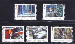 Aves - Pájaros - Robins - Nieve - Isla De Man - Serie De 5 Sellos - Sperlingsvögel & Singvögel