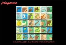 AMERICA. COLOMBIA MINT. 1980 CAMPAÑA DE ALFABETIZACIÓN. LETRAS DEL ABECEDARIO - Colombia