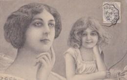 A2A Z30 CPA ILLUSTRATION ILLUSTRATEUR B. PATELLA ART NOUVEAU FEMME ANGE CUPIDON AMOUR ENFANT ARC FLECHE PRECURSEUR 1904 - Unclassified