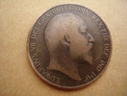Great Britain 1907 EDWARD VII  ONE PENNY  USED POOR CONDITION. - 1902-1971 : Post-Victorian Coins