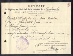 LUXEMBOURG 1920, EXTRAIT DES REGISTRE DE L´ETAT CIVIL DE LA COMMUNE DE SANDWEILER. (3VD87) - Documents Historiques
