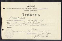 LUXEMBOURG 1943, AUSZUG AUS DEN KIRCHENBUCHERN DER KATHOLISCHEN PFARREI MEDERNACH. (3VD81) - Documents Historiques
