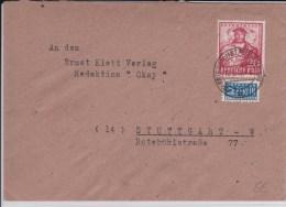 ZONE ANGLO - AMERICAINE - 1949 -  ENVELOPPE  De FRIEDRICHSTADT à STUTTGART - Bizone