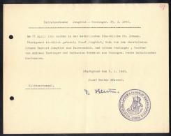LUXEMBOURG 1943, VULGO SUPRA LAPIDEM PAROCH. ST JOANNIS BAPTISTE. (3VD71) - Documents Historiques