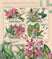 gb12405a Guinea Bissau 2012 Colibri and orchids Hummingbird s/s Michel: 6022-6025