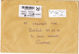 SFS/Meter On Cover: 2005 Marocco Casablanca On Registered Cover To Germany - Size C5 (C49) - ATM - Frama (vignette)
