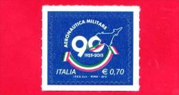 NUOVO - ITALIA - 2013 - 90º Anniversario Dell'aeronautica Militare Italiana - 0,70 € • Sagoma Di Aereo Militare - 6. 1946-.. Republic