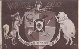 A2A Z30 CPA COCHON PIG FANTAISIE SATYRIQUE PATRIOTIQUE ?? VOIR LOUP MILITARIA CARRICATURE 1919 - Pigs