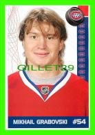 HOCKEY - MIKHAIL GRABOVSKI,  No 54, CANADIEN DE MONTRÉAL - PHOTOS ET FICHES, 2003-2008 - - Hockey - NHL